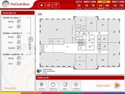 Ekran za polusprat sa komandama za rasvetu u hodnicima, izborom režima za polusprat i navigacijom ka svakoj kancelariji pojedinačno