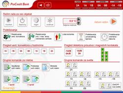Servisni ekran sa centralnim funkcijama i komandama na nivou celog objekta